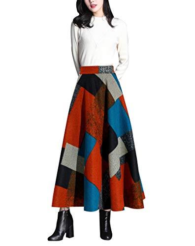 Damen Vintage Elegant Plaid Gestreiftes Wollrock Warm hohe Taille Langen röcke Wolle Retro Winterrock S-3XL (XL (Taille: 74-78 cm), Gitter) - Vintage-wolle Plaid Rock