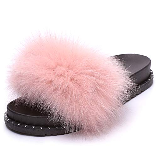 Mforshop scarpe donna ciabatte ec pelliccia pelo pantofole sandali pelose diapositive 997 - rosa, 40