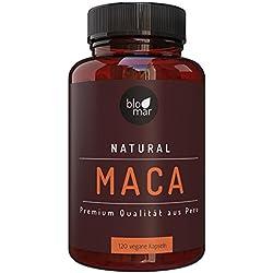 Maca Kapseln hochdosiert - 1000mg Tagesdosis - Maca root aus Peru - 100% natürlich - Vorrat für 3 Monate - 120 vegane Kapseln von Blomar