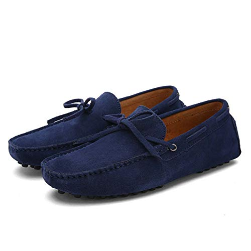 Casual Men Genuine Leather Shoes Summer Breathable Green Men's Loafers Leather Shoes Sapato Masculino Zapatos Hombre 02 Dark Blue 12