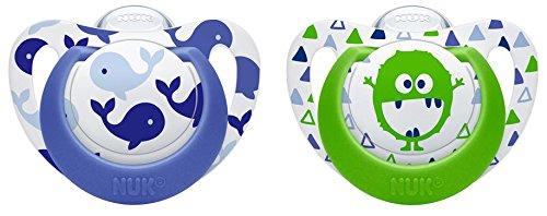 NUK 10177104 Genius Color Silikon-Schnuller, verbesserte kiefergerechte Form, noch zahnfreundlicher, 18-36 Monate, BPA frei, 2 Stück, Boy, blau