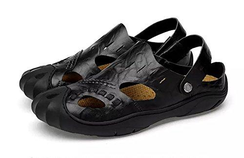 Sandali sportiv estivi uomo trekking ciabatte cuoio estive sandalo scarpe sportivi pelle mocassini sportivo outdoor beach,black,42.5/43.5 eu,44 cn label size
