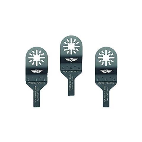 3X 10mm Topstools Un10F _ 3lames de coupe de bois pour Bosch, Fein Multimaster, Multitalent, Makita, Milwaukee, Einhell, Ergotools, HITACHI, Parkside, Ryobi, Worx, Workzone Multitool Outil multifonction Accessoires