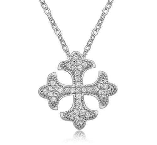 Croce di Malta Collana con ciondolo con Bianco Cristalli austriaci di zirconi 18 kt placcato oro bianco per donne 45 cm