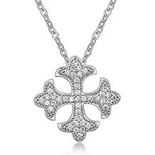18 ct Chapado en oro blanco blanco Crystals from Swarovski Malta Cruz colgante collar nuevo