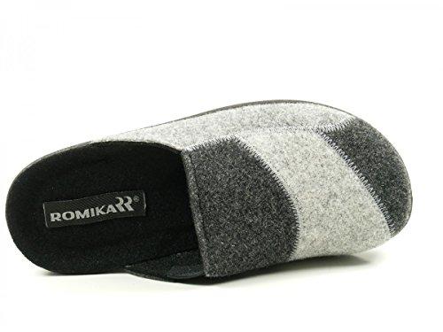 Romika 29076-54N-704 Village 376 Schuhe Damen Hausschuhe Pantoffeln Grau