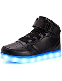 UBFen Unisex Zapatillas con luces Alta 7 Colors USB Carga LED Luz Luminosas Flash Sneakers Zapatos Deporte Para Niños Niñas Hombre Mujer Deportivos