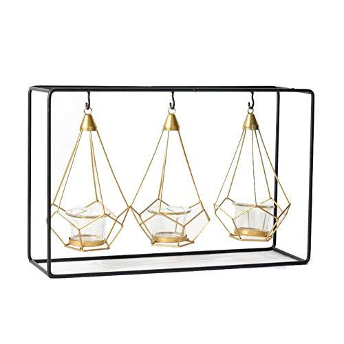Kerzenhalter MUMA Candlelight Dinner Prop Romantische Dekoration Gold Retro Glas (größe : Square Three Gold Frame Candlestick)