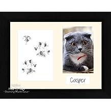 BabyRice – Kit de Pawprints costeras de huellas de gato mascota gato negro marco de fotos