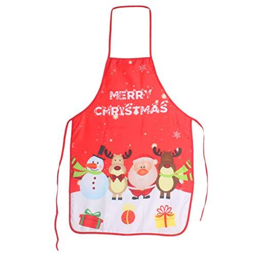 Vosarea Weihnachten Schürze Kochschürze Rentier Nikolaus Muster Küchenschürze Verstellbar Latzschürze für Kinder Frauen Männer (Rot)