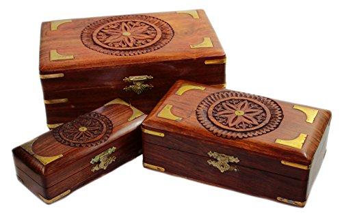 budawi® - Holz-Schatulle / Truhe mit Intarsien aus Shisham Holz-Box-Schachtel, Schatztruhe