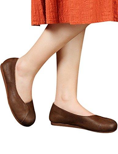 Youlee Femmes Nouveau Printemps Glisser Sur Ballerine Appartements Chaussures en Cuir Confortables Style 2 Café