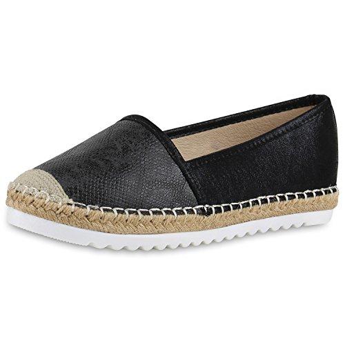 SCARPE VITA Damen Espadrilles Metallic Slipper Bast Profilsohle Flats Schuhe 160344 Schwarz Metallic 39 -