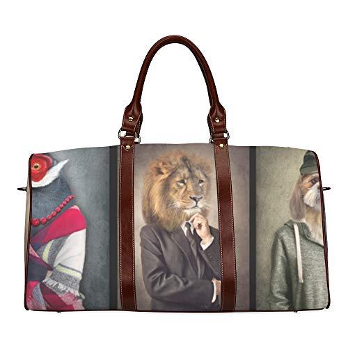 Reise-Seesack Lustige Tiere, die Kleidung tragen wasserdichte Weekender-Tasche Reisetasche Frauen-Damen-Einkaufstasche Mit Mikrofaser-Leder-Gepäcktasche