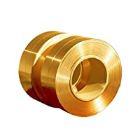 """RZDEAL 3.28""""/1m Long Solid Brass Foil Copper Sheet Tape Conductive Roll Brass Roll Foil for Metalworking (0.02mm X 100mm)"""
