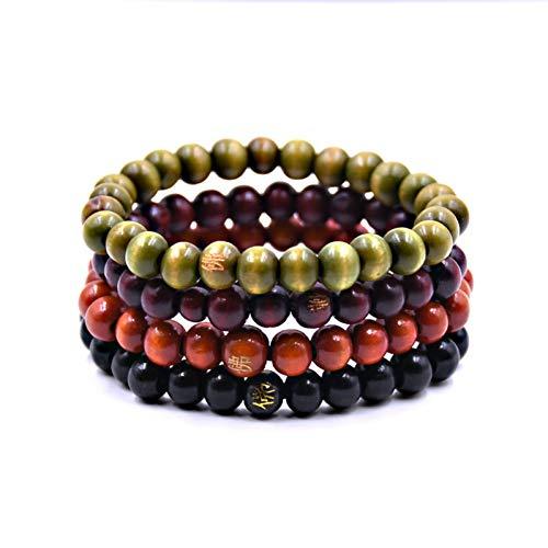 GAOKANG 1 Satz 4 Stücke Holz Perlen Multilayer Wrap-Around Armbänder Elastizität Manschette Armband Männer Modeschmuck,1 Set -