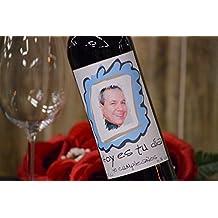 Botella vino personalizada con foto regalo para cumpleaños