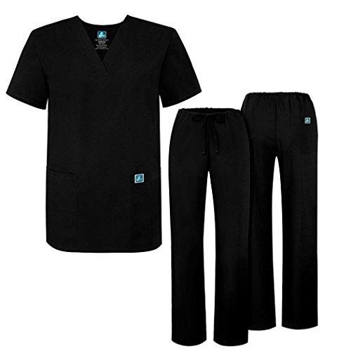 Adar uniformi unisex set camice – uniforme medica con maglia e pantaloni - 701 colore: blk | dimensione: s