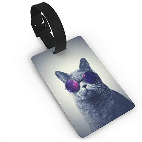 JKOVE Kofferanhänger,Fashion Cat with Sunglasse Koffer Tags mit Namensschild Adressschild Gepäckanhänger