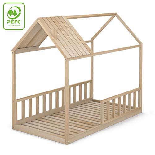 Cama casita con barreras
