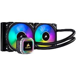 Corsair Hydro 100i RGB Platinum, Radiateur de 240mm (Deux ML PRO RGB de 120 mm PWM ventilateurs, Contrôle logiciel avancé de l'éclairage RGB et des ventilateurs) Refroidissement Liquide - Noir
