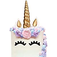 LUTER Handmade Gold Unicorn Birthday Cake Topper, Reusable Unicorn Horn, Ears and Eyelash Set, Unicorn Party Decoration for Birthday Party, Baby Shower and Wedding (Set of 5)