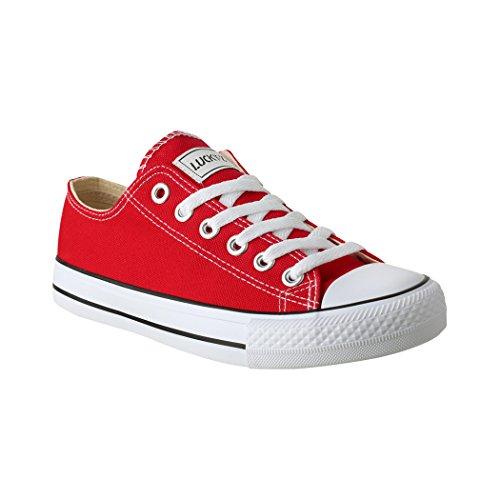 Elara Unisex Sneaker | Sportschuhe für Herren und Damen | Low top Turnschuh Textil Schuhe Farbe Rot, Größe 42