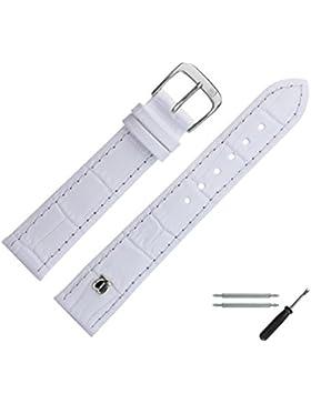 Uhrenarmband 18mm Leder Weiß Matt Prägung, Alligator - Inkl. Federstege / Werkzeug - MADE IN GERMANY - Uhrband...