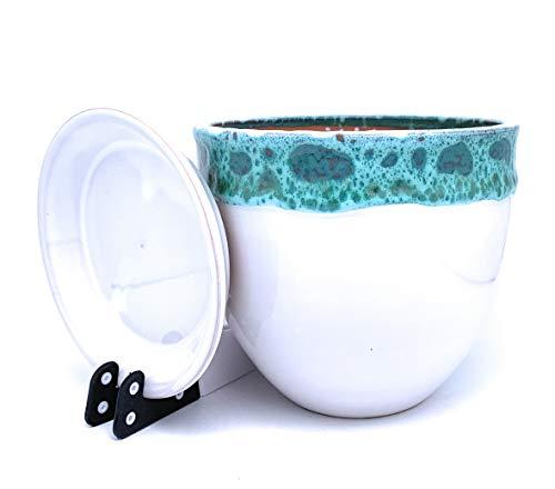 Sun Cakes Pot de Fleurs en céramique Verni avec Soucoupe Ronde en Terre Cuite avec Plateau Goutte à Goutte Pot de Fleurs en Argile, Pot de Fleurs coloré Bella, Blanc/Vert, 20cm x 17cm