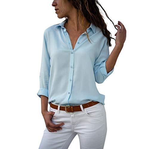 XuxMim Große Größen Damen T-Shirt Plus Size Tops Kurzarm V Kragen Bluse Casual Tee(Blau-3,Medium)