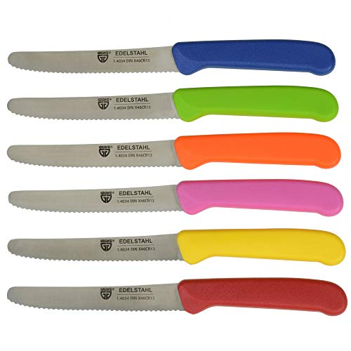 GRÄWE Tafelmesser 6 Stück, Messerset zum Schneiden, 6er Pack Brötchenmesser, Frühstücksmesser mit einseitigem Wellenschliff, Messer 21 cm - Bunt