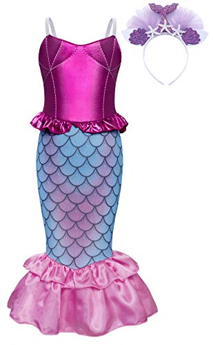370768b75c10 AmzBarley The Little Mermaid Costume Ariel Dress up Girls Kids Fish Tail  Party Fancy Dresses Halloween