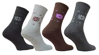 12 Paar Thermo Socken Damen Strümpfe bunt Winter warm Gr. 35 - 42 (35 - 38)