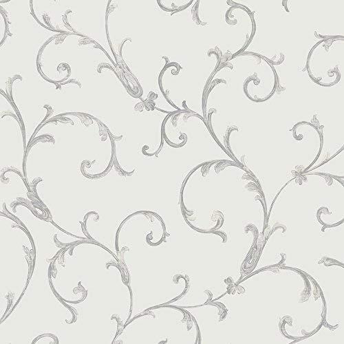 Metallic Scroll (Muriva Tapete 52.308,8cm Italian Style Acanthus Scroll Luxus Schwergewicht Wand einkleistern Tapete