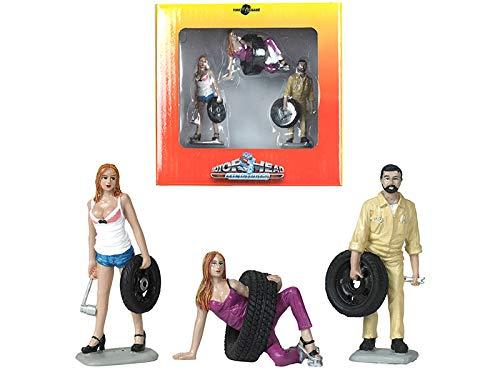 Motorhead Miniatures Tire Brigade Set #8 Val & Meg & Gery 3 Figuren Diorama 1:24 774 (Motorhead Miniatures)