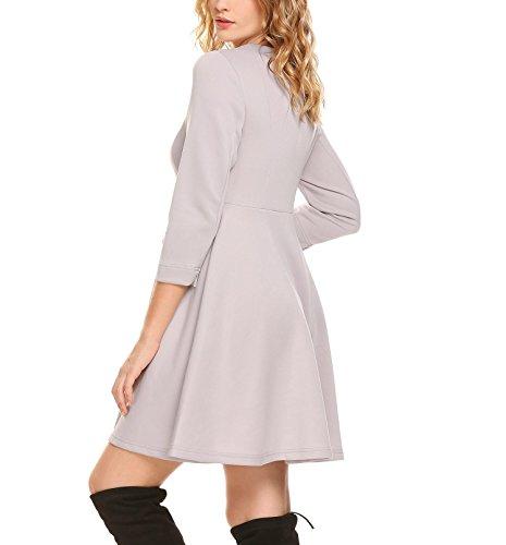 ... Damen Kleid 3/4 Ärmeln Rockability Rundhals Cocktailkleid Swing Kleid A linie  Knielang Casual Herbst ...