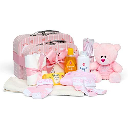 Baby Geschenkset I Geschenk Geburt & Taufe I Originelle Geschenkidee für Neugeborene - 2 Süße Erinnerungsboxen mit Teddy, Kleidung, Lätzchen, Badeschaum - Geschenke zur Geburt Mädchen