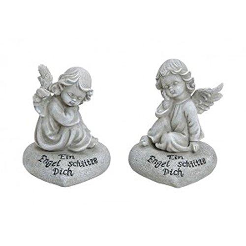 Grabdeko Engel sitzend auf herzförmigen Gedenkstein