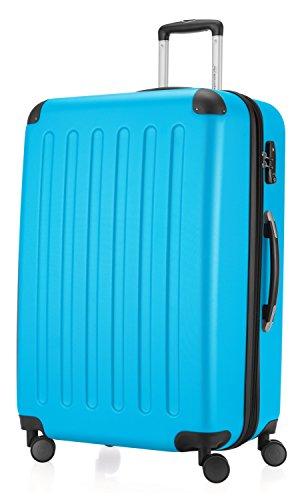 Hauptstadtkoffer - Spree - Hartschalen-Koffer Koffer Trolley Rollkoffer Reisekoffer Erweiterbar, 4 Rollen, TSA, 75 cm, 119 Liter, Cyanblau