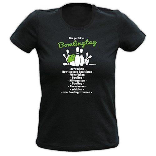 Der perfekte BOWLING Tag beginnt Girlie Shirt - Lady Sport Hemd, Shwarz