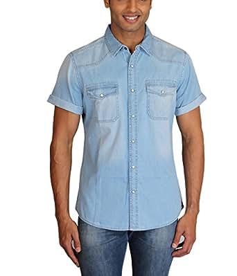 Max Exports Men's Light Blue Denim Shirt (XX-Large)
