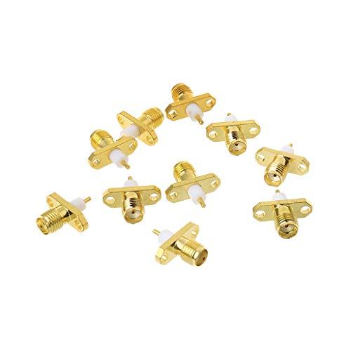 10 Stück SMA weiblich 2-Loch-Flansch PTFE Lötplatten-Adapter RF Stecker gerade - 2 Stück Flansch