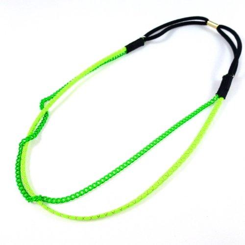 rougecaramel - Headband/bandeau/bijou de cheveux double rangs - vert fluo