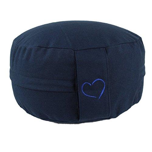 Yoga maylow mit Herz – Yogakissen Meditationskissen rund Herz – Sitzhöhe 15cm – waschbarer Bezug aus Baumwolle – Yoga…