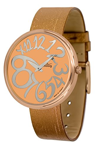 Moog Paris Ronde Art-Deco Women's Watch with Rose Gold Dial, Copper Strap in Jeans - M41671-E42