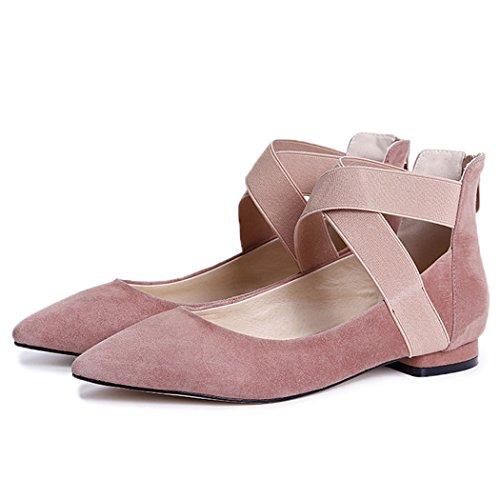 YYHSND Damenschuhe Freizeitschuhe Flacher Mund Spitze Freizeitschuhe Kreuzgürtel Gürtel Ballettschuhe schwarz rosa 34-39 Meter Frauen Schuhe (Color : Pink, Size : 36 EU) -