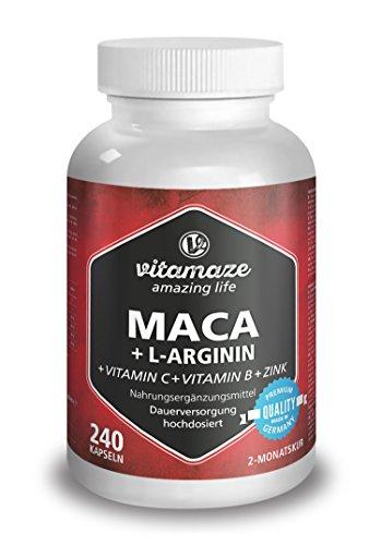 Maca in capsule ad alte dosi di 4000 mg + L-Arginina 1800 mg + vitamine + zinco, 240 capsule per 2 mesi, prodotto di qualità tedesca, ora ad un prezzo promozionale e resa gratuita entro 30 giorni! Confezione unica (1 x 206,4 g)
