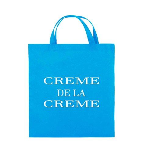 Comedy Bags - CREME DE LA CREME - Jutebeutel - kurze Henkel - 38x42cm - Farbe: Schwarz / Pink Hellblau / Weiss
