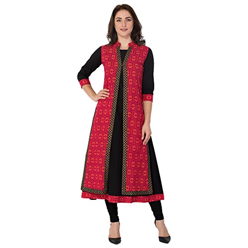 M&D Women's Cotton Kurta (Md162-Black Red Jacket Anarakha-S)