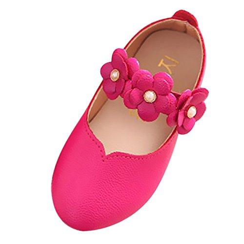 Leder-walking-mary Janes (FNKDOR Mädchen Mary Jane Halbschuhe Damen Ballerinas Schuhe, Kinder - Jugend (35/Fußlänge:20.9CM, Hellrot))